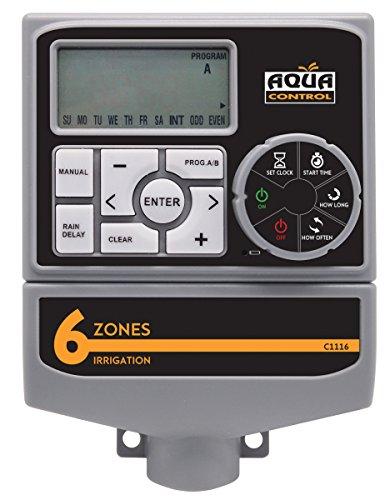 Aqua Control C1116 - Programador riego de 6 estaciones. Para controlar 6 válvulas. De uso en interiores. Muy versátil.