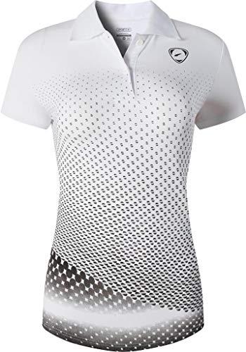 jeansian Damen Sport Poloshirt Polo Shirt T-Shirt T-Shirt Kurzarm Dry Fit Golf Tennis Badminton SWT251 Whiteblack S