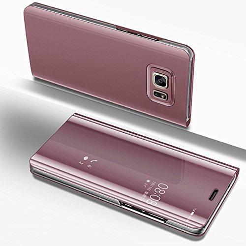 Etsue Kompatibel mit Samsung Galaxy S7 Handy Schutzhülle Spiegel Hülle Handyhülle Tasche Lederhülle Luxus Glitzer Kristall Überzug Spiegel Mirror Clear View Klapphülle Flip Case Cover,Rose Gold