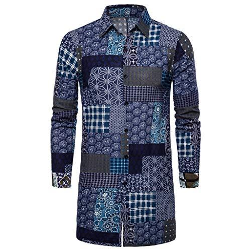 Herren Jacke, sunnymi ® Herbst Winter Lose Nationalität Gedruckt Langarm Outwear Shirt Bluse - Blatt Camouflage Königin
