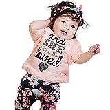 2PCS Set , Tops+Pantaloni, feiXIANG® Bambino bimbo Ragazze vestiti set lettera floreale cime + abiti pantaloni Abbigliamento bambini vestito da bambino (Rosa, 18 Mesi)