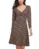 Beyove Damen Elegant Blumen Jerseykleid Wickelkleid Vintage Kleid V-Ausschnitt Langarm skaterkleid Partykleider Knielang Orange S