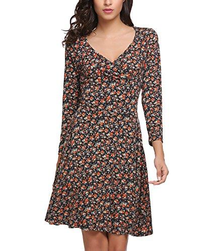 Beyove Damen Elegant Blumen Jerseykleid Wickelkleid Vintage Kleid V-Ausschnitt Langarm Skaterkleid Partykleider Knielang Orange XXL
