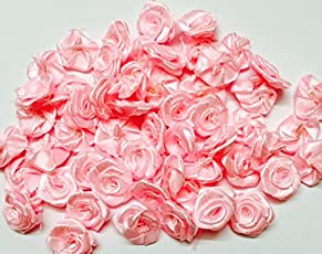eerafashionicing Small Satin Ribbon Flower Applique Asian Hobby Craft (Snow Pink) - Pack of 50 Pieces