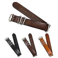 CIVO Genuine Grain Leather NATO Zulu Military Swiss G10 Watch Band Strap 18mm 20mm 22mm Stainless Steel Buckle (Dark Brown, 18mm)