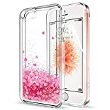 iPhone SE Case Iphone 5 5s Iphone Cases Glitter with HD Screen Protector for Girls Women, LeYi Shockproof Slim Shiny Bling Liquid Moving Quicksand Clear TPU Silicone Phone cover for iPhone 5 ZX Pink