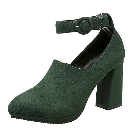 Mee Shoes Damen chunky heels Ankle strap Nubukleder Pumps Dunklegrün