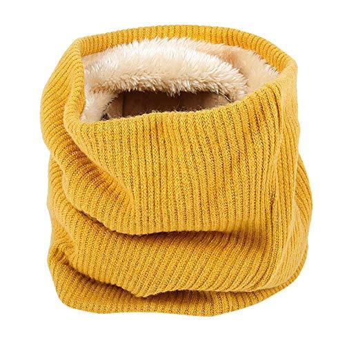 Männer Frauen Schal MYMYG Unisex Warme Strick Kutte Hals Mohair Weiche Winter Warme Baumwolle Schals Kragen Winter Wärmer Elastischer Pelz Ring Cowl Schal(A8-Gelb,Freie Größe)