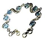 Gemsonclick Natürliche Blautopas Sterling Silber Armbänder für Frauen Prime Birthstone Style L 6,5-8 Zoll
