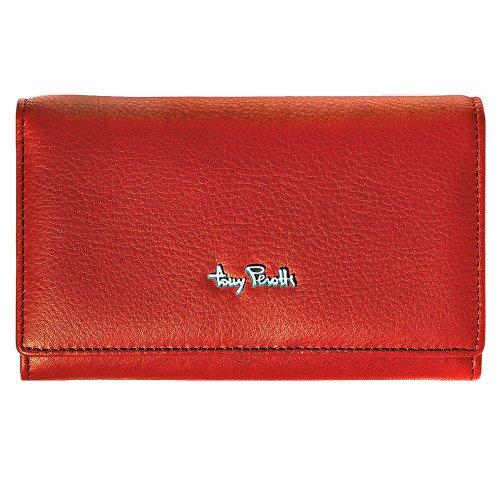 Tony Perotti Contatto TP1122 Portemonnaie aus weichem italienischem Leder, mit Rahmen, Rot