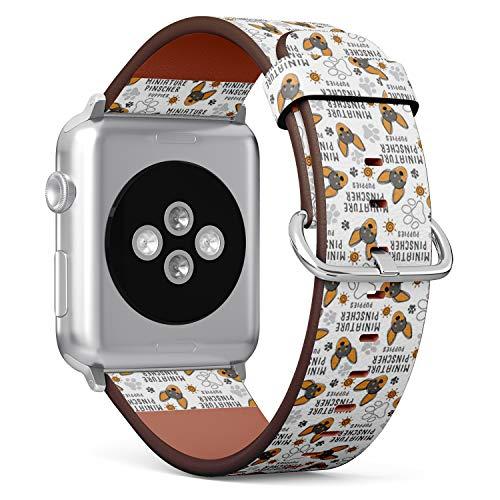 Armband für Big Apple Watch, 42 mm und 44 mm, Leder, mit Edelstahlverschluss und Adaptern (Miniatur Pinscher) -