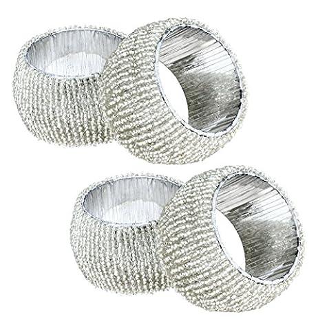 Satz von 4 - Weiß Perlen Tischdekoration Serviettenringe - Perfekt für Dinner-Partys - Durchmesser 6,5
