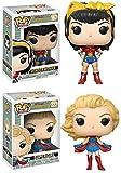 Funko POP! DC Bombshells: Wonder Woman + Supergirl - Stylized Vinyl Figure Set NEW