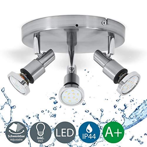LED Deckenleuchte Bad-Deckenlampe Badezimmerleuchte Badezimmerlampe Deckenstrahler inkl. 3 x 5W Leuchtmittel 400lm IP44