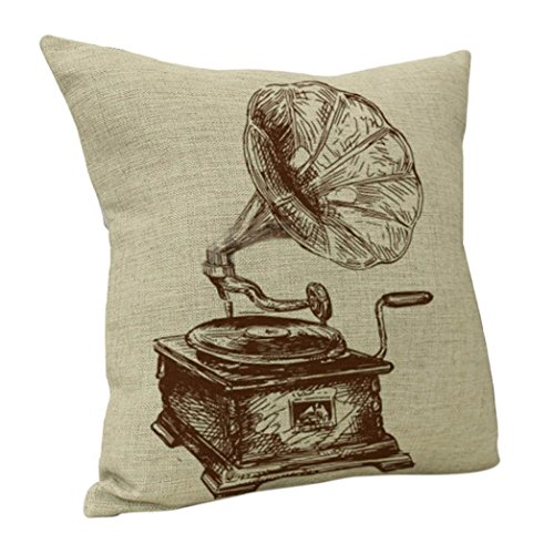 Vintage Cushion Cover   Janly   Record   Microphone   High heels   Key Pillowcase 45x45cm Cotton linen Square Pillow Covers  18 x18   A