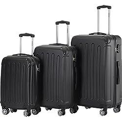 BEIBYE 2045 Hartschale Koffer Kofferset Trolley Reisekoffer Größe XL-L-M in 12 Farben (Schwarz, Set)