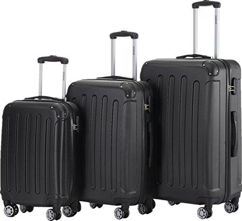 Gepäck-sets Schwarz (BEIBYE 2045 Hartschale Koffer Kofferset Trolley Reisekoffer Größe XL-L-M in 12 Farben (Schwarz, Set))