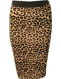 WearAll - Mujeres Stretch Bodycon Elásticos Imprimir Cintura Lápiz Midi Falda