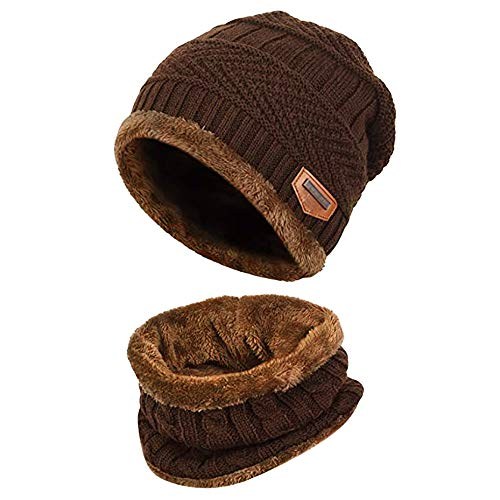 AIni 4-Pieces Winter Beanie Mütze Schal Set Warme Strickmütze Dicker Strick Skull Cap Unisex Damen Herren