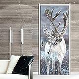 XIAOXINYUAN DIY-Cartoon Elch 3D Tür Aufkleber PVC Wasserdichte Türen Poster An Der Wand Aufkleber Aufkleber Für Wohnzimmer Schlafzimmer Home Decor