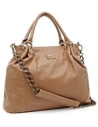 6981271150987 Bovari XL Chain Bag Damen Handtasche Schultertasche (45x32x13 cm) - echt  Leder - Light