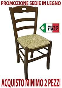Ordine min. 2 pz sedia poltrona paesana in legno massello noce casa ristorante con seduta in paglia