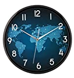 #9: Elios World Map Wall Clock with Glass for Home/ Kitchen & Living Room Black