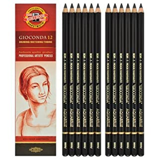 Koh-i-noor Gioconda Negro Aquarelle - 12 Water Soluble Graphite Pencils 6B. 8800
