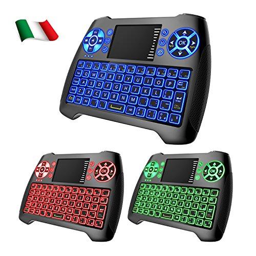 Foto Dootoper Wireless Mini tastiera con touchpad del mouse / 10 Meter Range / 76 tasti (2 chiavi speciali) /2.4 GHz tastiera adatto per HTPC, Smart TV, Android TV Box, XBOX360, PC, ecc (Italia T16 with 3 color backlight)