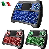 Dootoper Wireless Mini tastiera con touchpad del mouse / 10 Meter Range / 76 tasti (2 chiavi speciali) /2.4 GHz tastiera adatto per HTPC, Smart TV, Android TV Box, XBOX360, PC, ecc (Italia T16 with 3 color backlight)