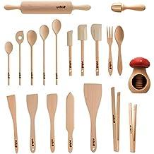 Uulki® 20piezas Eco-friendly Juego de utensilios de cocina de madera de haya Ardenas–(cucharas de cocina, espátula alimentos volteadoras, pinzas para parrilla, rodillo, cascanueces,...)