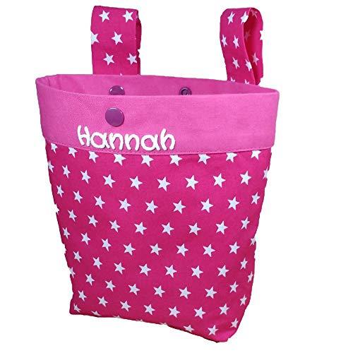 Lenkertasche Sterne mit Namen, Laufrad Fahrrad Kindertasche personalisiert, Kinderfahrradtasche, Laufstalltasche, Rollertasche, Farbe:pink