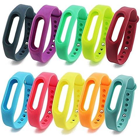 NIUTOP® Ricambio Xiaomi miband WristBand con multi-colore per Xiaomi banda braccialetto Smart Wristband Wireless Activity Bracciale Sport Arm Band (10 colores)