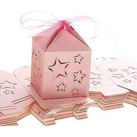 LEORX CANDY Scatole Regalo per Matrimonio Feste Baby doccia–scatole 50pezzi (Bridal Shower Regalo Regalo Di Nozze)
