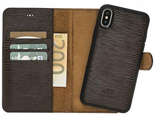 Solo Pelle Iphone X abnehmbare Lederhülle (2in1) inkl. Kartenfächer für das original Iphone X in Epi Dunkelbraun / kabelloses Laden möglich (Vuitton Neue Louis Tasche)