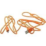 SODIAL(R) Hanfseil Micro-USB 2.0 Ladegeraet Lade Synchronisieren Daten Kabel Schnur fuer Samsung Galaxy 2M (Orange)