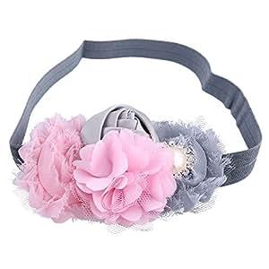 Itaar® Carina Fascia dei Capelli per Bambina Neonata Fiori Cravatta a Farfalla Paillette Principessa 6 Stili da Scegliere (Rosa+ Grigio)