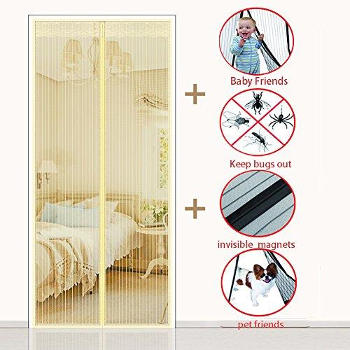 Magnet vorhang, Heavy-duty Magnetischer fliegengitter für Verschlüsselung Wand vorhang Full-frame-magie-aufkleber Home Hält mücken-Gelb 120x210cm(47x83inch)