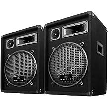 "Auna PW-1022 Coppia casse passive diffusori altoparlanti PA (800 Watt, sistema a 3 vie, woofer da 10"", horn, midrange e tweeter)"