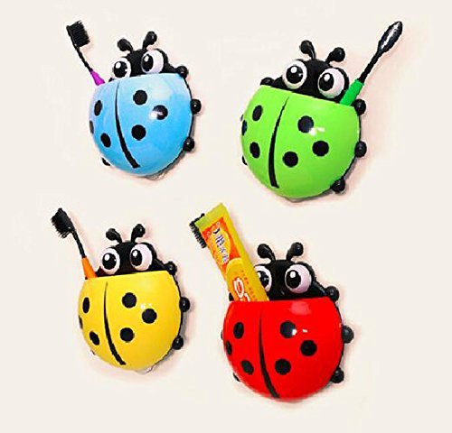 bestga Cute Cartoon Marienkäfer Kinder Wand Saugnapf Mount Zahnbürste Halter Bleistift und Pen Container Box Travel Organizer Kunststoff Pocket Lagerung Organizer, rot (Storage Rv Box)