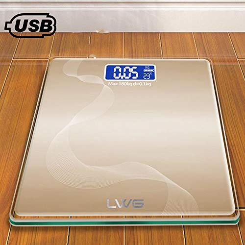 ZAOFENG Elektronische Waage des Menschlichen Körpers, Wiederaufladbare USB-Personenwaage Glasgewicht Waage Weight Watchers Geeignet Für Schlafzimmer,A-28 * 28cm