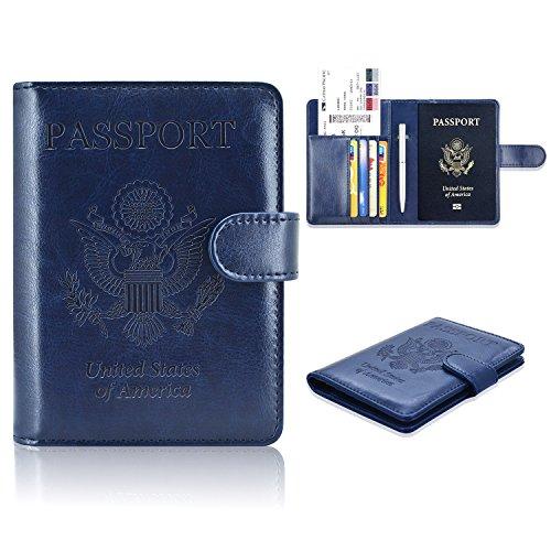 ACdream Passport RFID-Blocker, Folio Premium PU Leder Wallet Case für Reisepass, Kreditkarte, Visitenkarten, Boarding Pässe, dunkelblau