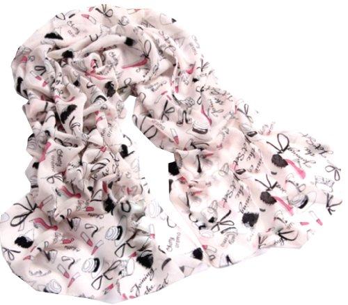Demarkt Jolie Foulard Echarpe Imprimé Chaussures à Talons Hauts -160 * 55CM - Chiffon Soie pour Femme- Couleur Pink