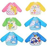 Toyvian Delantales de plástico Impresos para niños con Bata Larga y Manga Larga