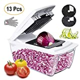 Vegetable Chopper Mandoline Slicer Dicer- 13 in 1 for Spiralizer Vegetable Slicer, Vegetable