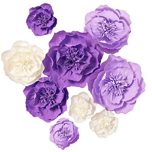 LING 's Moment Papier Blumen, künstliche Blumen für Blumensträuße Aufsteller Hochzeit Party Baby Dusche Dekorationen DIY Beige+violet