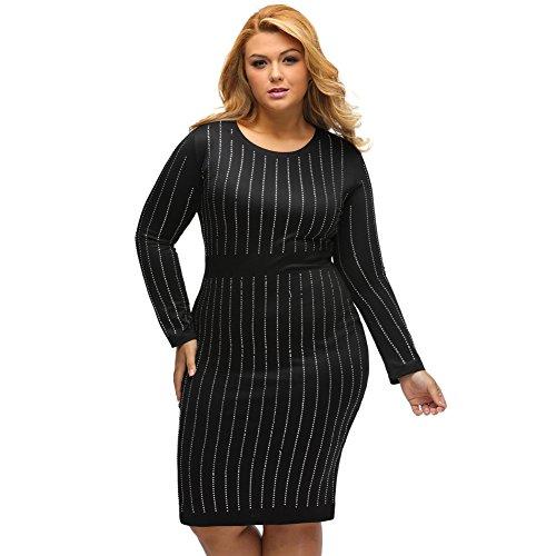 Yueyuefa Black Big Girls strass rayures robe à manches longues Black