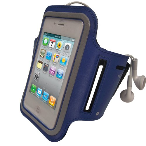 iGadgitz Blue Reflective Anti-Slip Neoprene Sports Gym Jogging Armband for Apple iPhone 4 HD & 4S 16GB, 32GB & 64GB