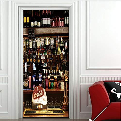 zhangshifa Weinflasche Becher Europäischen Stil Wohnzimmer Schlafzimmer Tür Aufkleber Wohnkultur PVC Wasserdichte Wandbild Tapete 3D 77X200CM