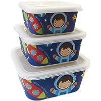 Buabi Conjunto 3 Tupper de bambú. Material ecológico sin BPA. Apto para lavavajillas, Ideal para bebé e Infantil (Astronauta)